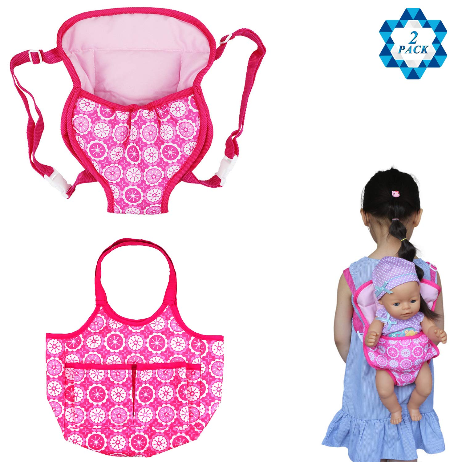 SOTOGO 2 Pack Baby Doll Carrier Doll Backpack Carrier Doll Tote Bag Doll Diaper Bag 15 to 18 inch Dolls