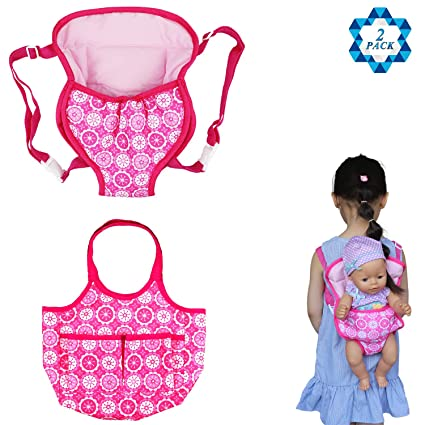 0bab501f549 Amazon.com  SOTOGO 2 Pack Baby Doll Carrier Doll Backpack Carrier Doll Tote Bag  Doll Diaper Bag 15 to 18 inch Dolls  Toys   Games