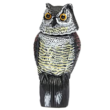Garden Protector Garden Owl,Horned Owl Pest Deterrent Rotating Head  Scarecrow Pest Control Repellents Owl