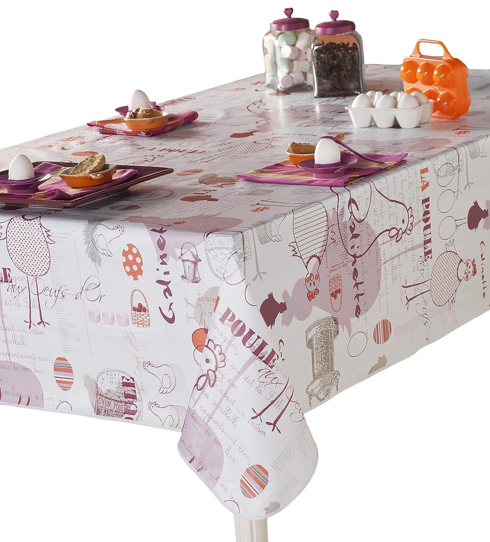 CALITEX Round Oilcloth Tablecloth, PVC, PVC, plum, 140 x 140