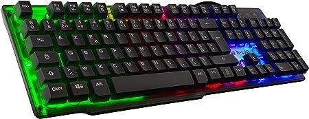 The G-Lab KEYZ Neon - Teclado Gaming de Alto Rendimiento - Membrana de Alta Precisión - Retroiluminación Rainbow - Layout Español, Multicolor