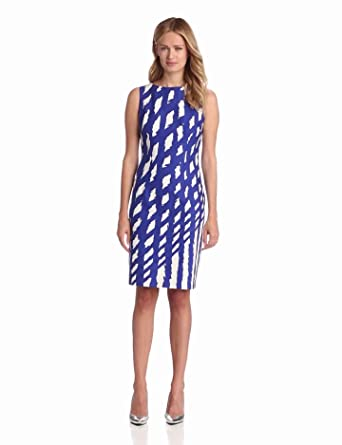 Nine West Dresses Women's Electric Shapes Shift Dress, Marine Blue Combo, 4