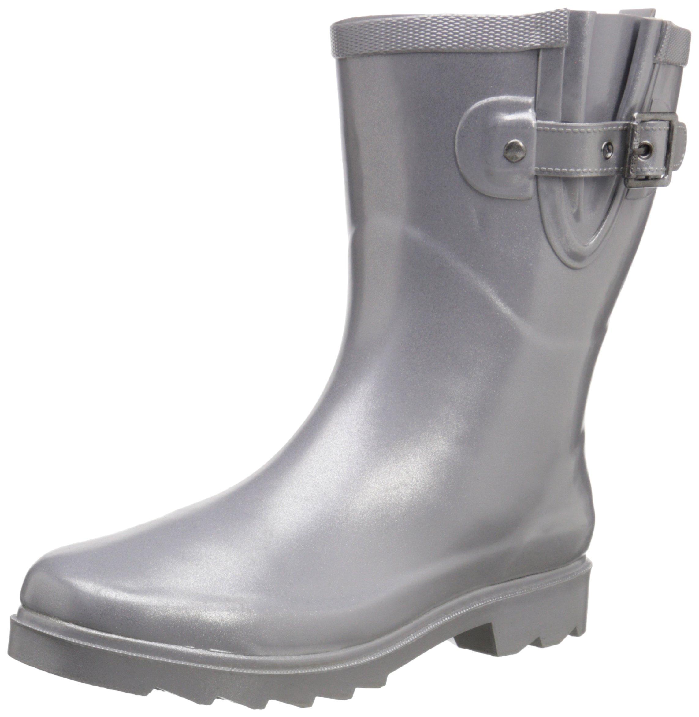 Chooka Women's Mid-Height Rain Boot, Silver, 10 M US