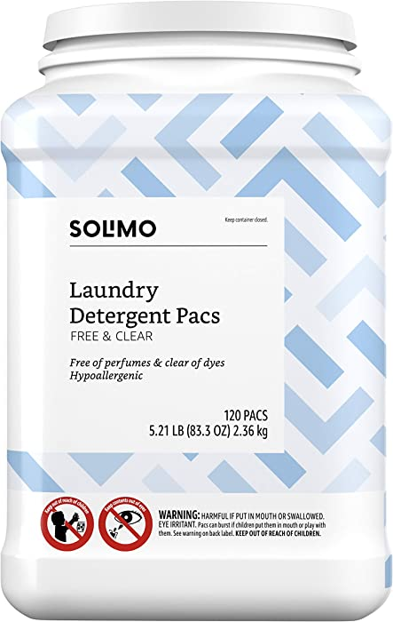 Amazon Brand - Solimo Laundry Detergent Pacs, Free & Clear, 120 count