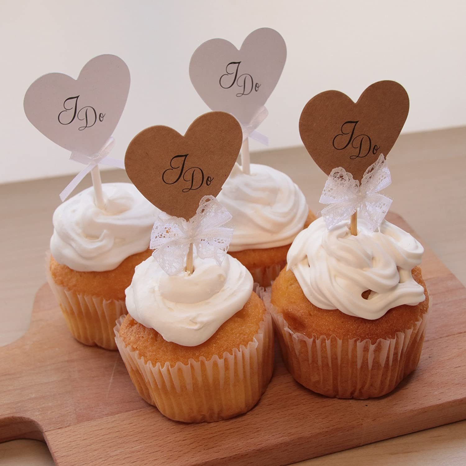Amazoncom 12 Pack Vintage Rustic I Do Heart Shaped Cake Toppers