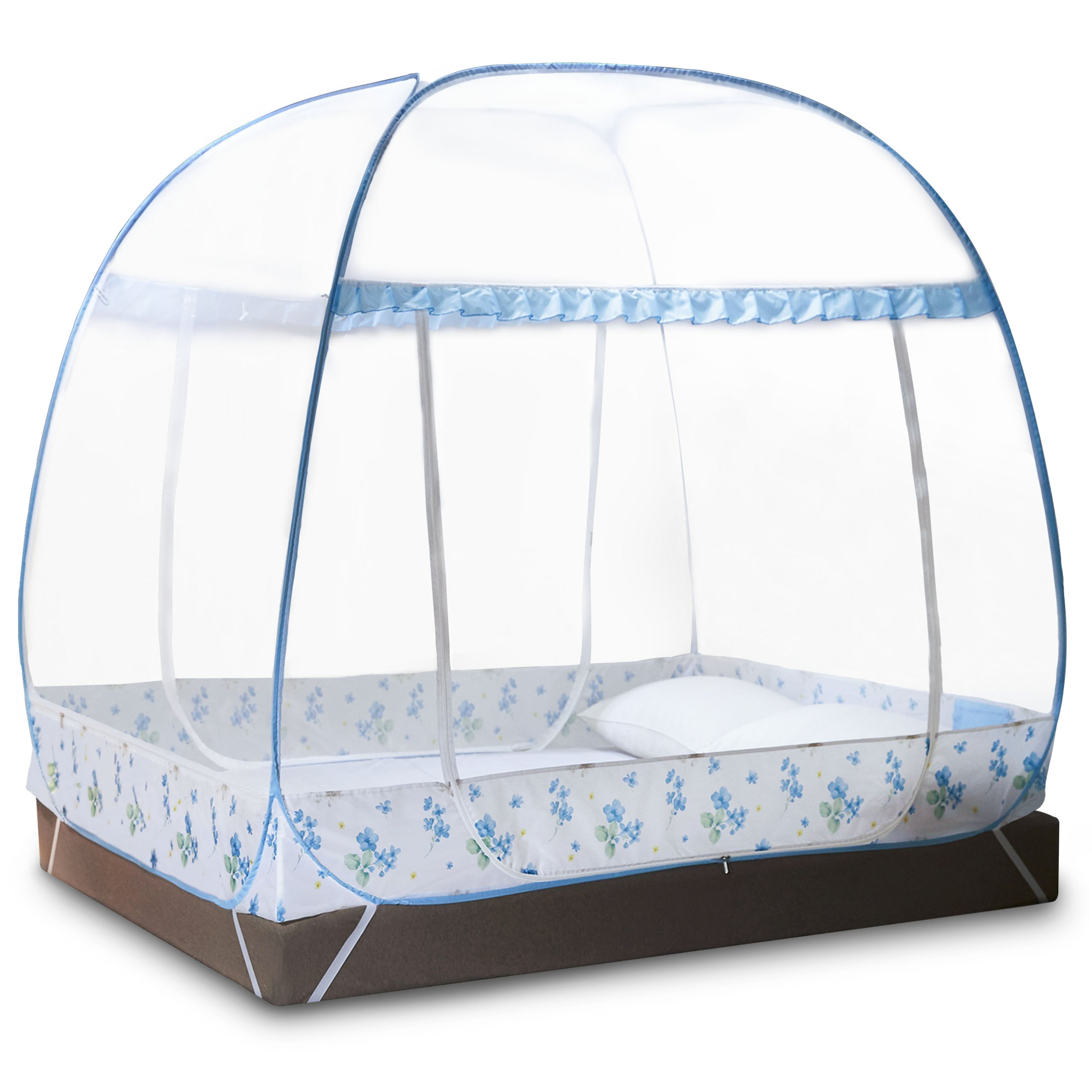 DIMPLES EXCEL Mosquito Bed Net Tent for Double Beds Foldable with Full Bottom, 79'' (L) 59.1''(W) 67''(H) (2x1.5x1.45m) (Blue)