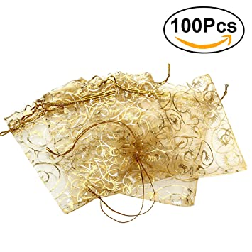 ROSENICE Bolsa de Organza Bolsitas de tela de saco bolsas de sacos de los 9 * 12cm 100pcs (dorado)