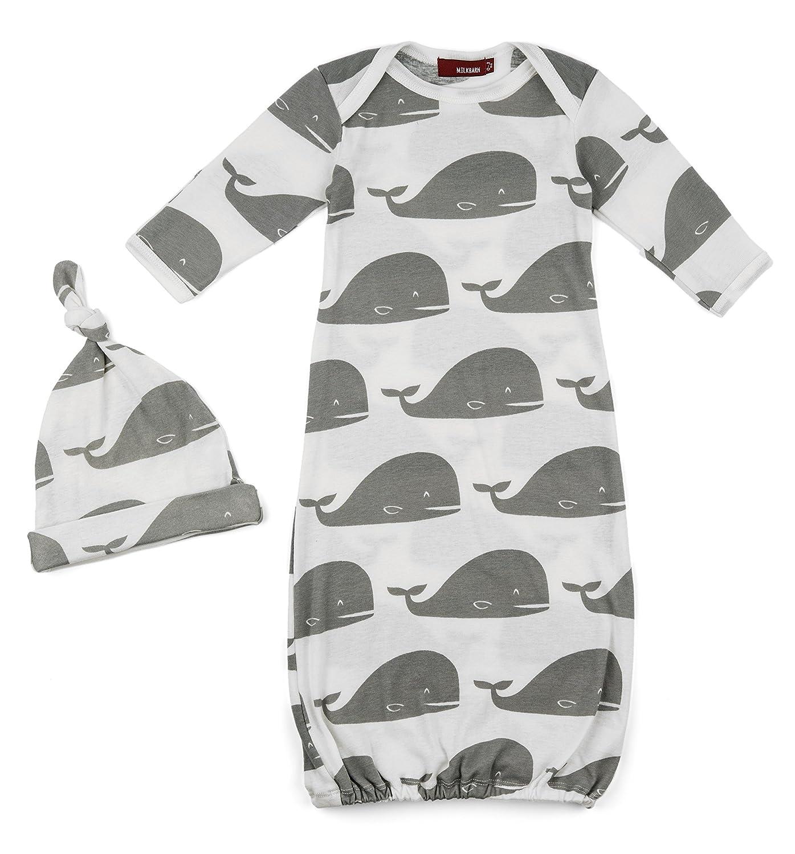 Amazon.com: MilkBarn Organic Cotton Newborn Gown & Hat Set Gray ...