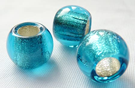 12mm Czech Glass Round Large Hole European Style Beads Silver Lined Aqua Blue D008 10pcs Amazon Co Uk Kitchen Home