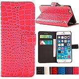 iPhone 6 Case, YESOO Crocodile Pattern PU Leather Wallet Folio Case (Pink)