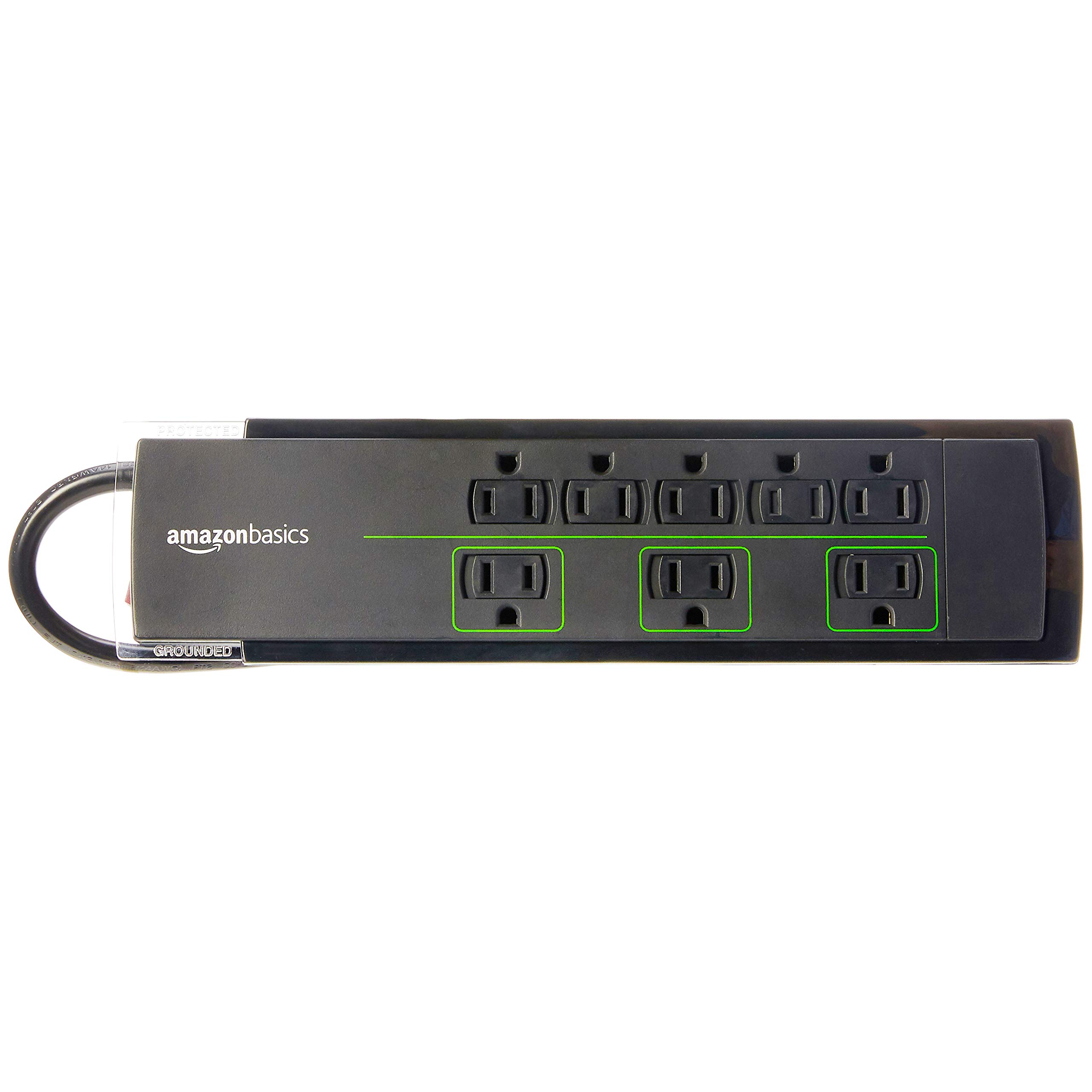 AmazonBasics 8-Outlet Power Strip Surge Protector | 4,500 Joule, 12-Foot Cord