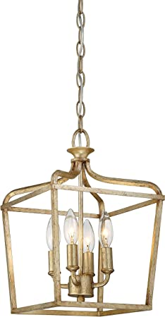 Minka Lavery Ceiling Pendant Lantern Chandelier Lighting 4445-582 Laurel Estate, 4-Light Fixture 240 Watts, Brio Gold