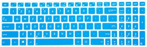 Leze - Ultra Thin Keyboard Skin Cover for ASUS UX501 K501UX F554LA F555LA F555UA F556UA R556LA X540SA X552 X555DA GL502VY GL502VS GL702VM GL702VS GL552VW GL752VW GL552JX Q504UA Q534UX Q524UQ - Blue