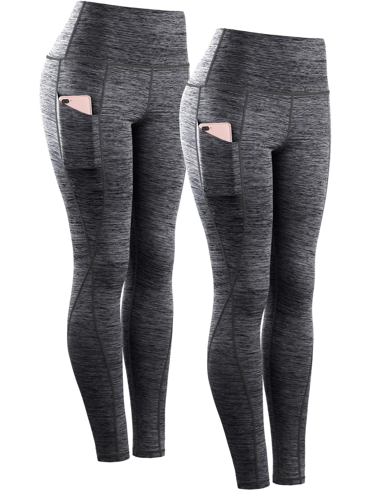 Neleus Tummy Control High Waist Workout Running Leggings for Women,9033,Yoga Pant 2 Pack,Black,S,EU M