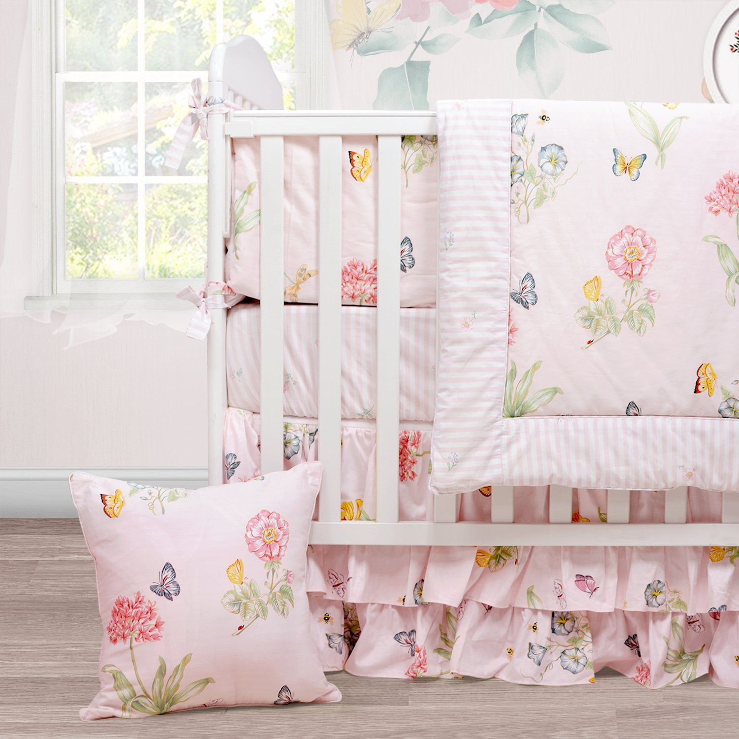 Brandream Floral Crib Bedding with Butterfly Cute Baby Bedding Girl- Extra Soft Warm Breathable and Hypoallergenic, Pink 3 Pieces Crib Bedding Set