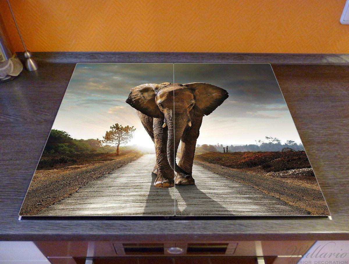 f/ür Ceran- und Induktionsherde 1-teilig Elefant bei Sonnenaufgang in Afrika 52x60cm Wallario Herdabdeckplatte//Spritzschutz aus Glas