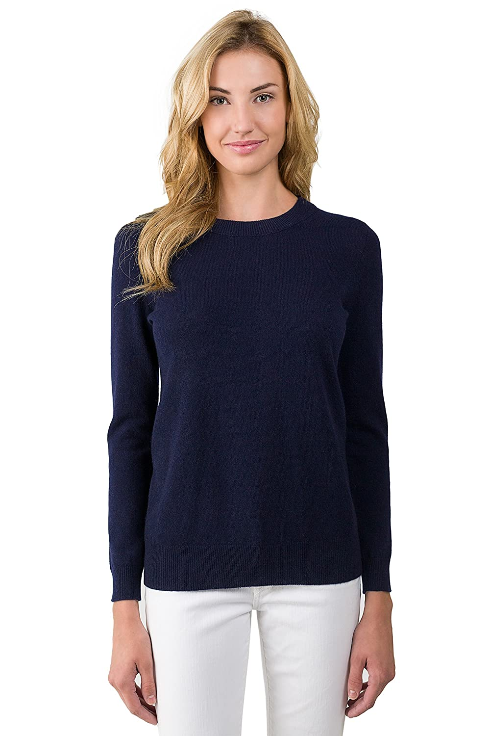 JENNIE LIU Women's 100% Pure Cashmere Long Sleeve Crew Neck ...