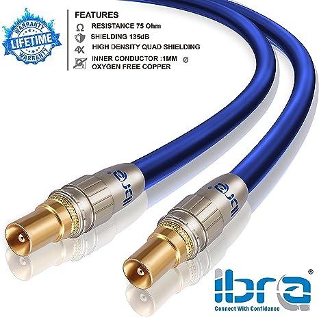 IBRA - 5m Cable de Antena HDTV Premium | Cable coaxial HDTV/Full HD | coaxial Macho en coaxial Macho | UHF/RF/TDT | contactos Dorados | Azul
