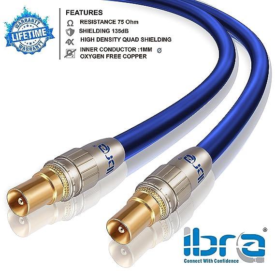 IBRA - 2m Cable de Antena HDTV Premium | Cable coaxial HDTV/Full HD | coaxial Macho en coaxial Macho | UHF/RF / TDT | contactos Dorados | Azul: Amazon.es: ...