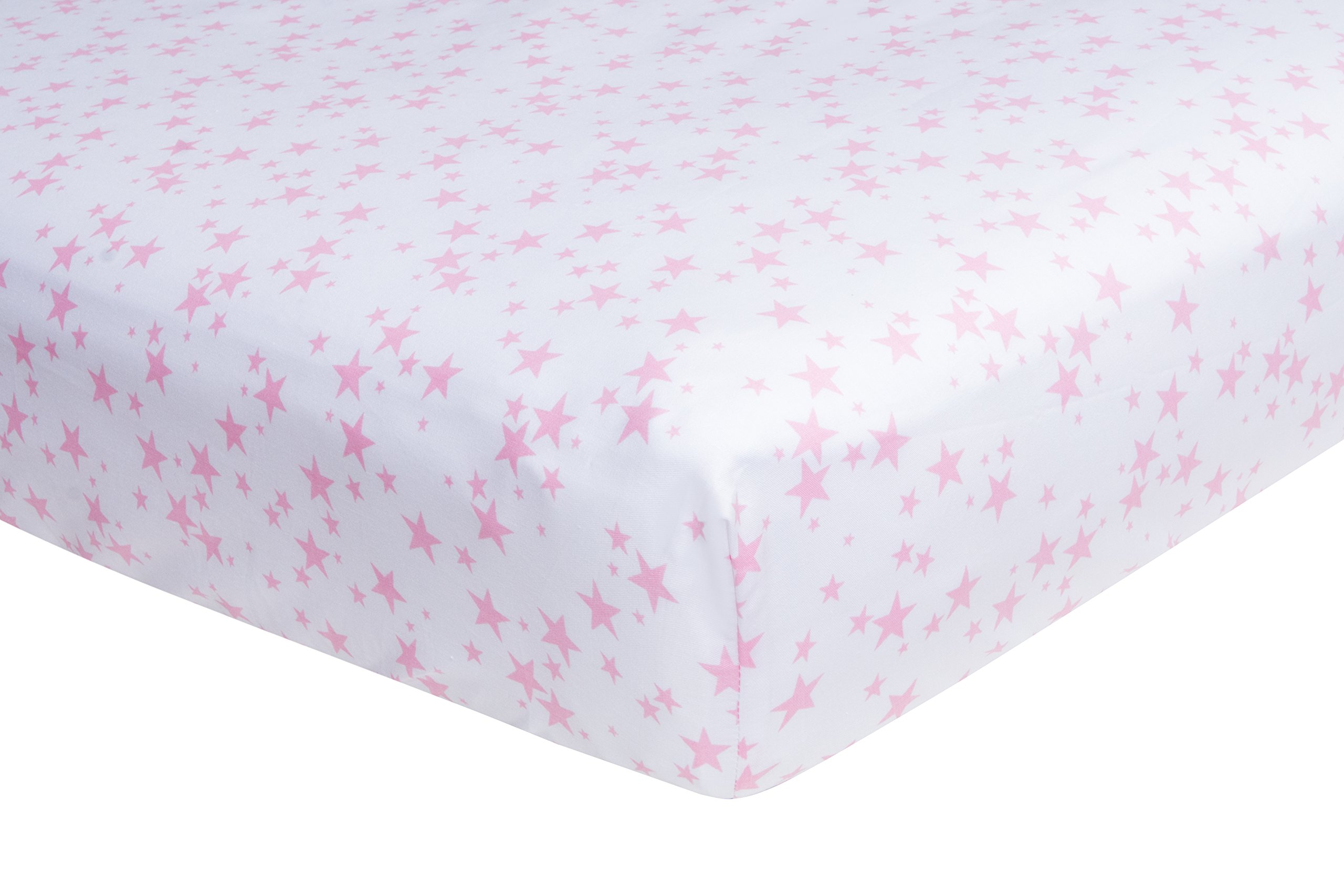 European Size Cot Bed Fitted Sheets, (140 X 70 cm) White and Pink, Super Soft Woven Cotton, 200 TC, 2 Pack, Frenchie Mini Couture