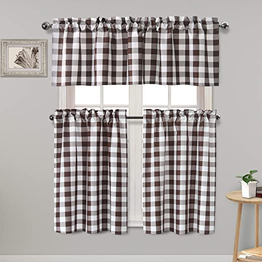 Kitchen Curtains Window Treatment Tier Curtains Checkered Cotton Blend for Living Dining Room 29 x 36 inches Set of 2 Rod Pocket Coffee
