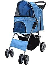 VIVO Blue 4 Wheel Pet Stroller for Cat, Dog and More, Foldable Carrier Strolling Cart (STROLR-V001B)