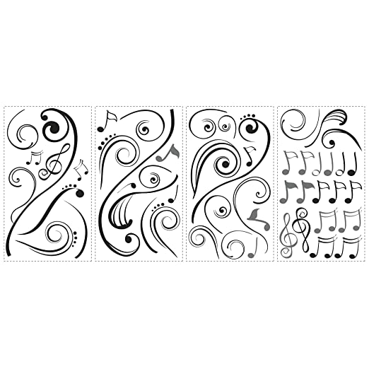 Roommates RMKSCS Music Scroll Notes Peel And Stick Wall Decals - How to price vinyl decals
