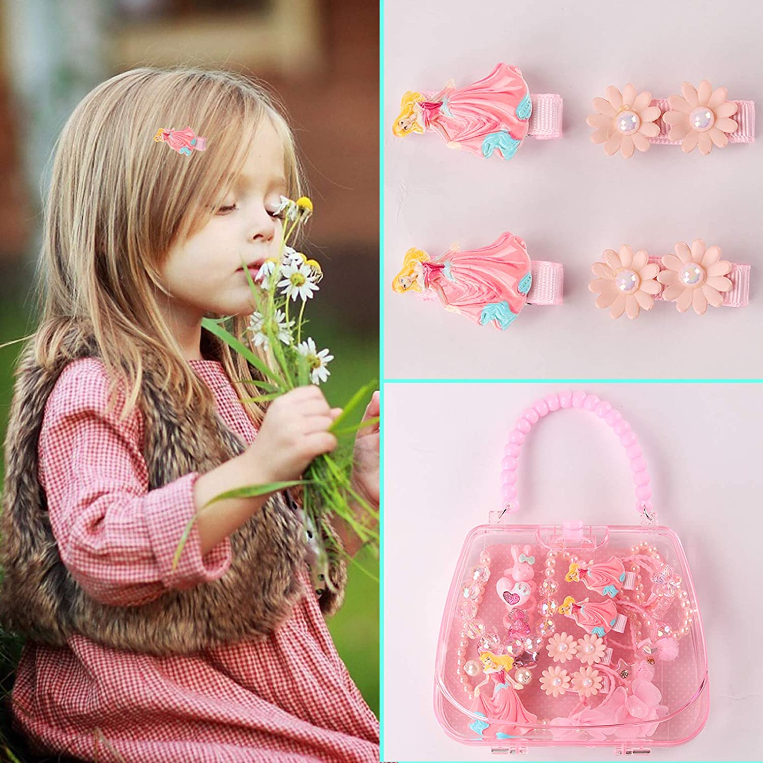 Pink Seatecks18 Pack Cute Jewelry Kits for Little Girls Plastic Handbag Necklace Bracelet Ring Earrings Hair Clips Hair Ties Set Party Favors Gift for Toddler Princess Jewelry Dress Up