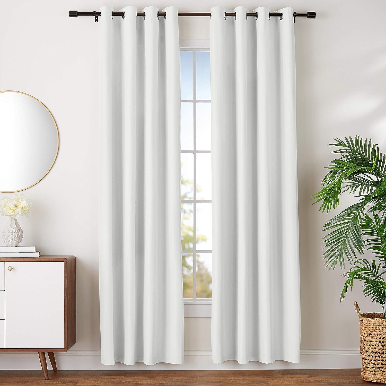 "AmazonBasics Room Darkening Blackout Window Curtains with Grommets- 42"" x 96"", Beige, 2 Panels"