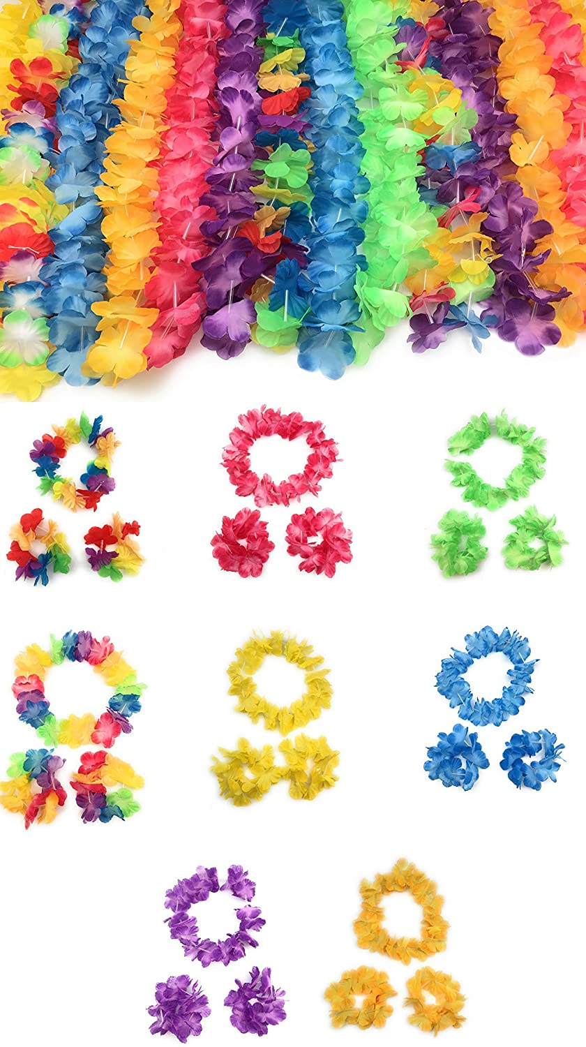 60 Piece Hawaiian Party Leis Includes a Necklace, Headbands and Wristbands,Great For Kids, Adult Party Supplies, Summer Beach Vacation, Theme Party Decorations, Birthday, Wedding, School dances, Hawaiian theme party and many many more | Total of 15 Sets