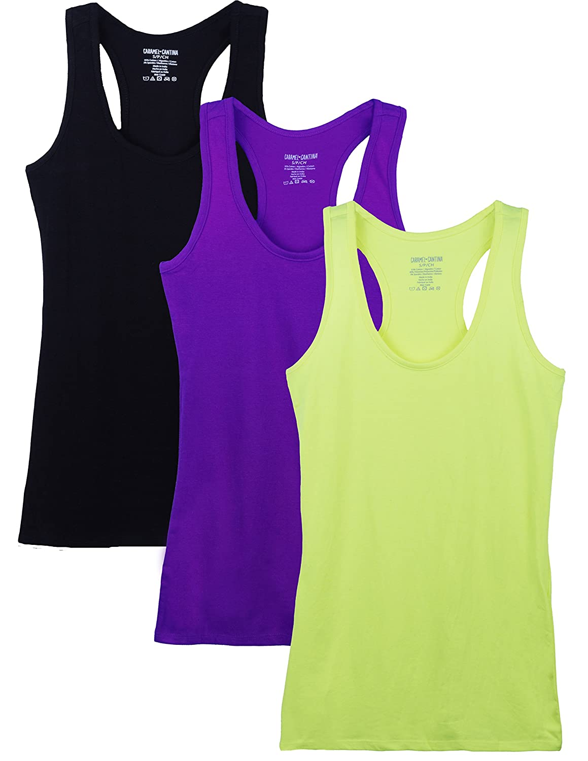 Caramel Cantina 3 Pack Juniors Cotton Racerback Tank top