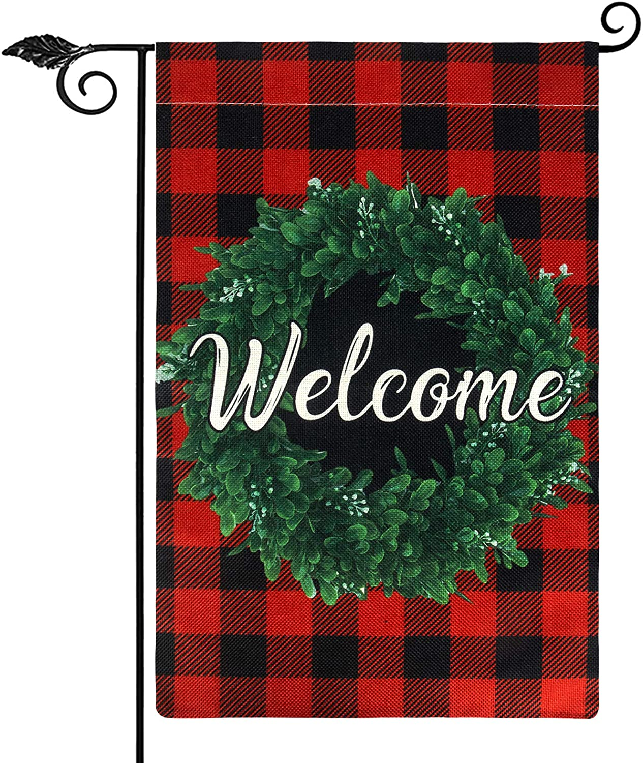 Unves Christmas Garden Flag, Vertical Double Sided Welcome Garden Flag Buffalo Check Plaid Winter Christmas Flag Burlap, Rustic Farmhouse Yard Outdoor Christmas Decoration 12.5 x 18 Inch