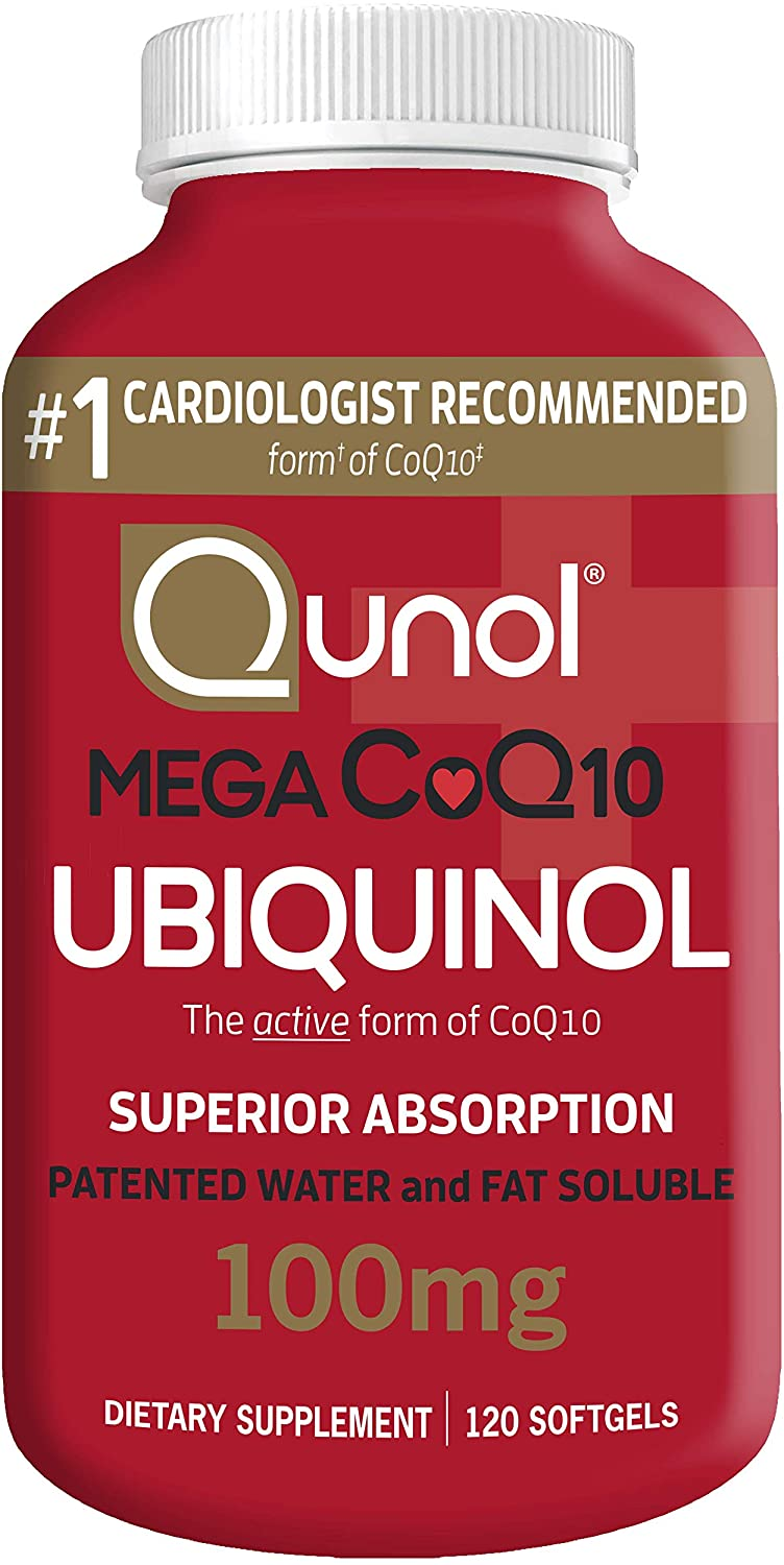 Qunol Mega Ubiquinol CoQ10 100mg, Superior Absorption, Patented Water and Fat Soluble Natural Supplement Form of Coenzyme Q10, Antioxidant for Heart Health, 120 Count (Pack of 1) Softgels: Health & Personal Care