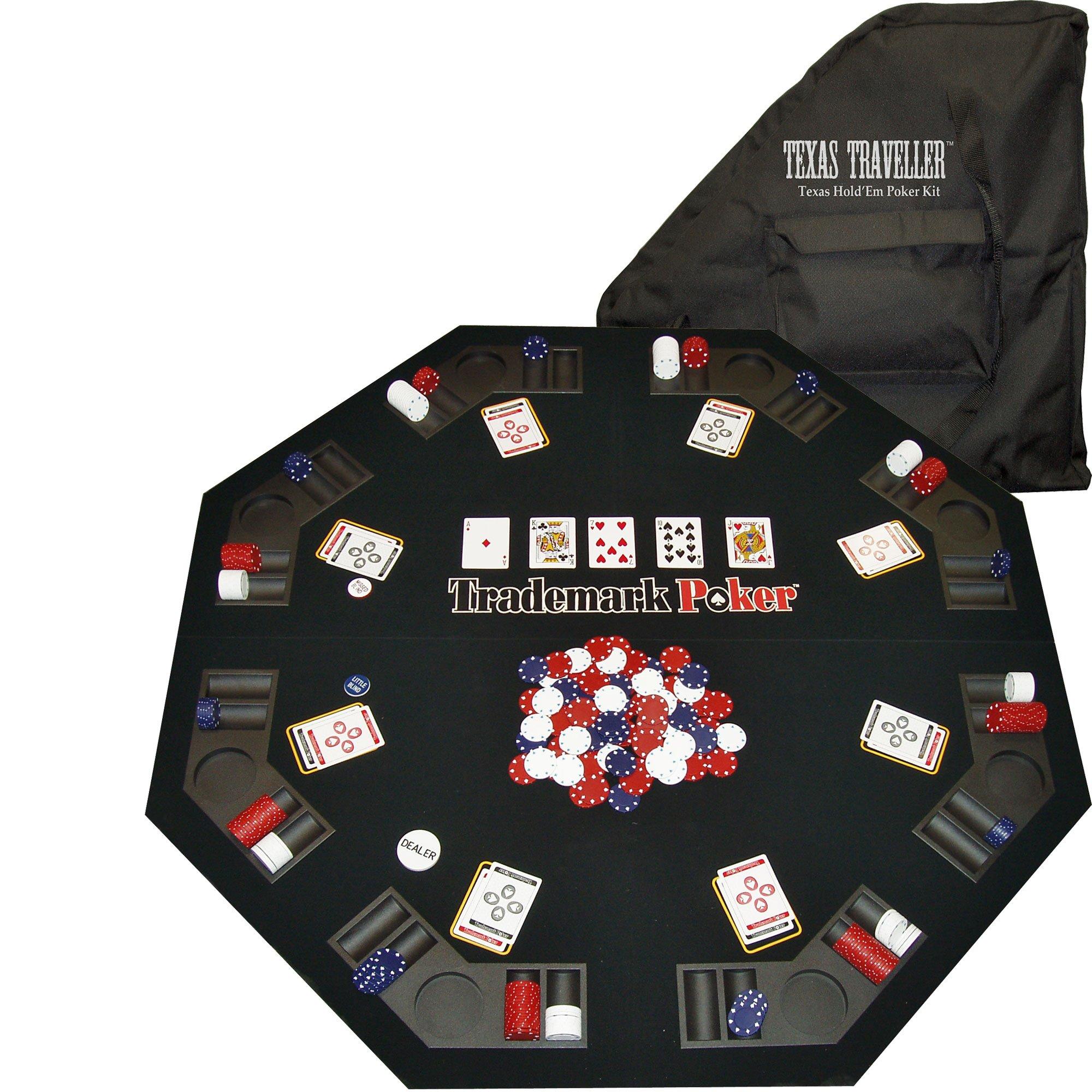 Trademark Poker Texas Traveller Table Top & 300 Chip Travel Set