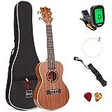 Best Choice Products 23in Acoustic Concert Sapele Ukulele Starter Kit w/Gig Bag