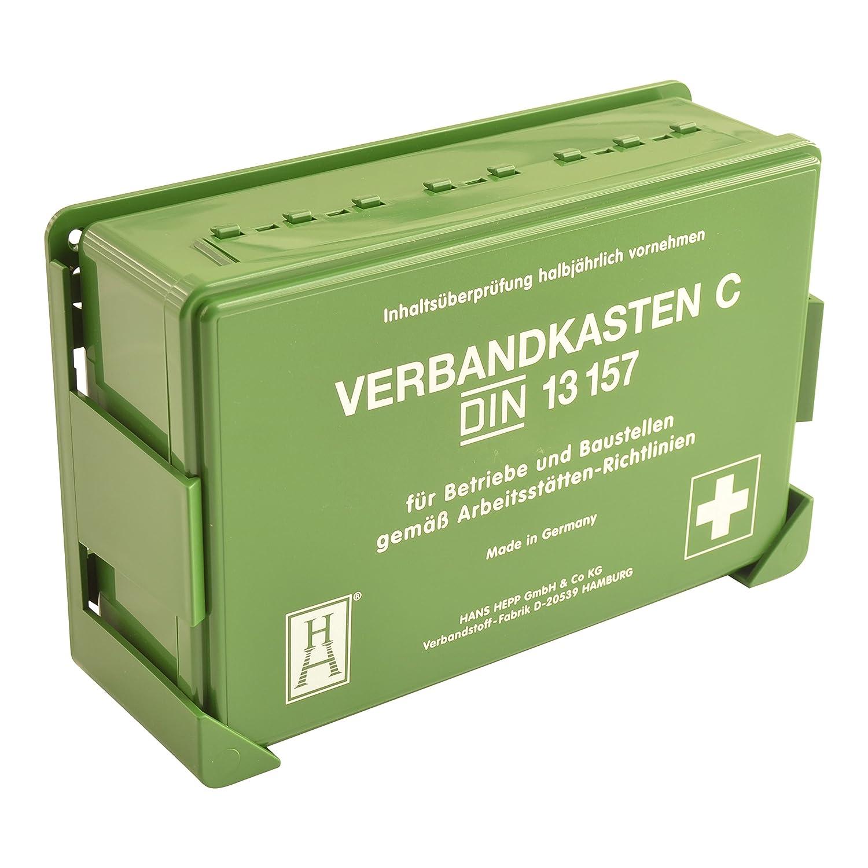 Betriebs Verbandkasten Erste Hilfe Koffer DIN13157 Grü n mit Halterung Made in Germany Spitzenspannung Elektrotechnik MKVB-02
