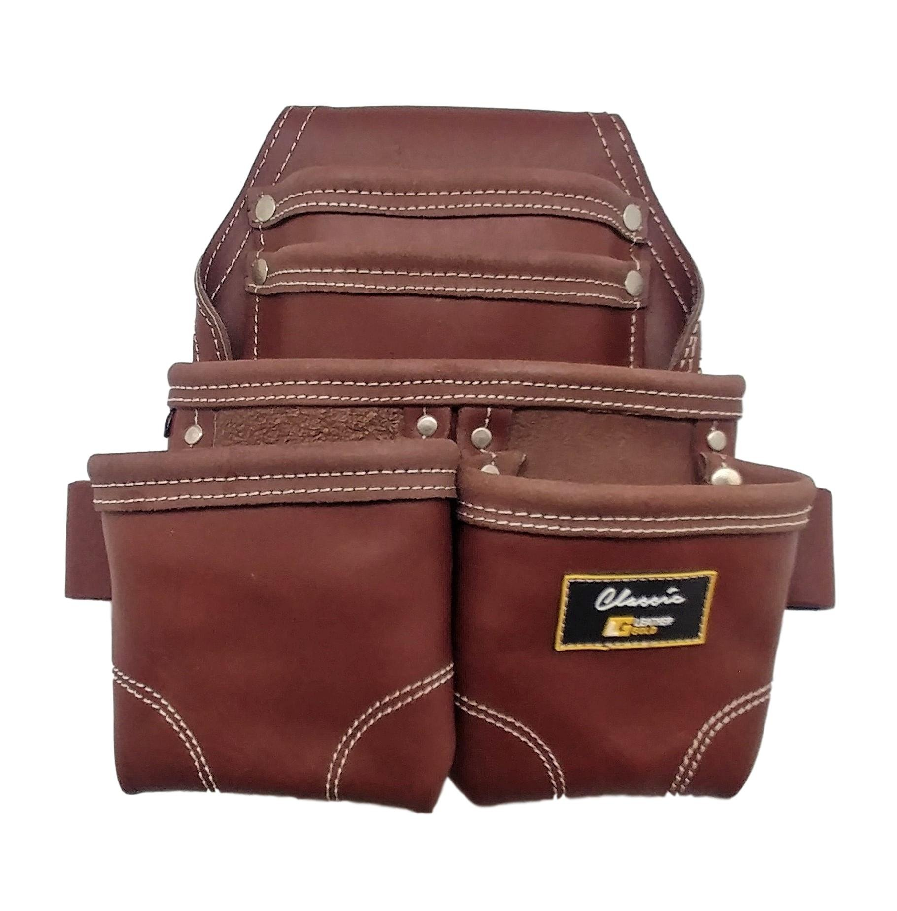 Leather Gold Nail Pouch | Leather Tool Pouch 3350DP, 5 Pockets, Brown, Oil-Tanned Leather, Heavy Duty Carpenter Tool Belt With Reinforced Seams and 2 Hammer Holders by Leather Gold