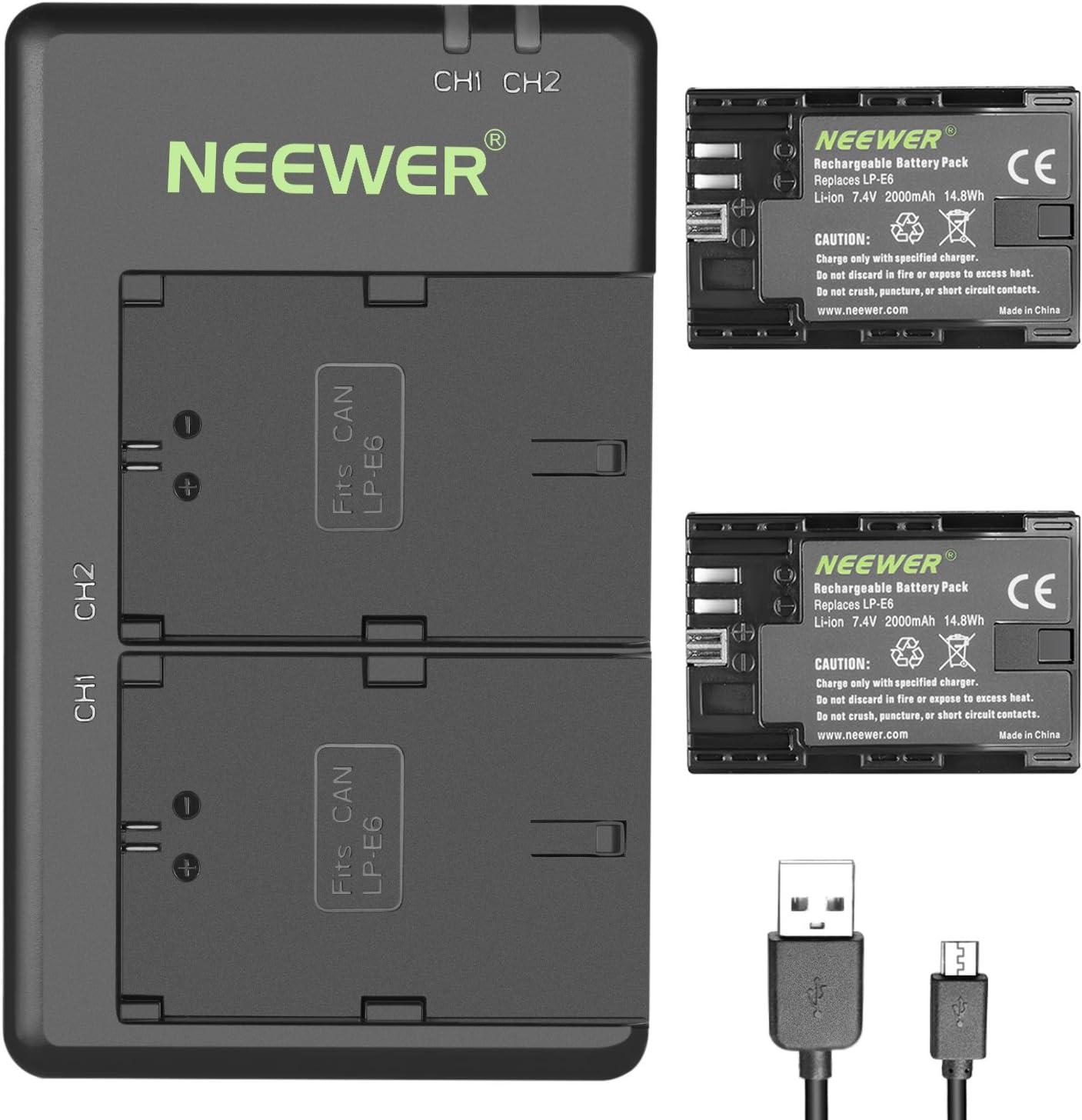 Neewer LP-E6 LP-E6N Juego Cargador de Batería Recargable para Canon 5D Mark II III IV 5Ds 6D 70D 80D y Más (2 Baterías de Cámara 2000 mAh Opción de Carga Versátil con