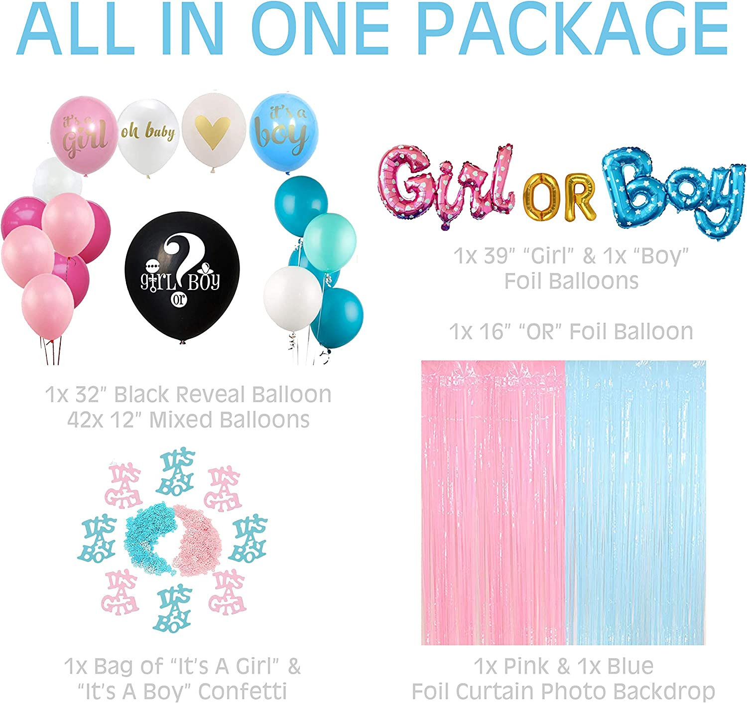 Foil Curtain Foil Balloons Baby Gender Reveal Gender Reveal Decorations Boy or Girl Gender Reveal Kit Includes Boy or Girl Balloon UrbanRed Gender Reveal Party Supplies Baby Reveal