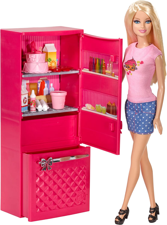 Amazon Com Barbie Doll And Fridge Set Toys Games