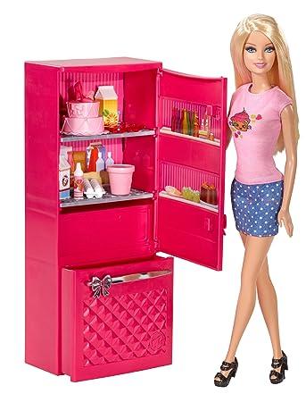 Barbie Puppe CCX04 mit Glam Kühlschrank 10 Teile: Amazon.de: Spielzeug