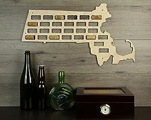 Wooden Shoe Designs Massachusetts Wine Cork Map, Tan