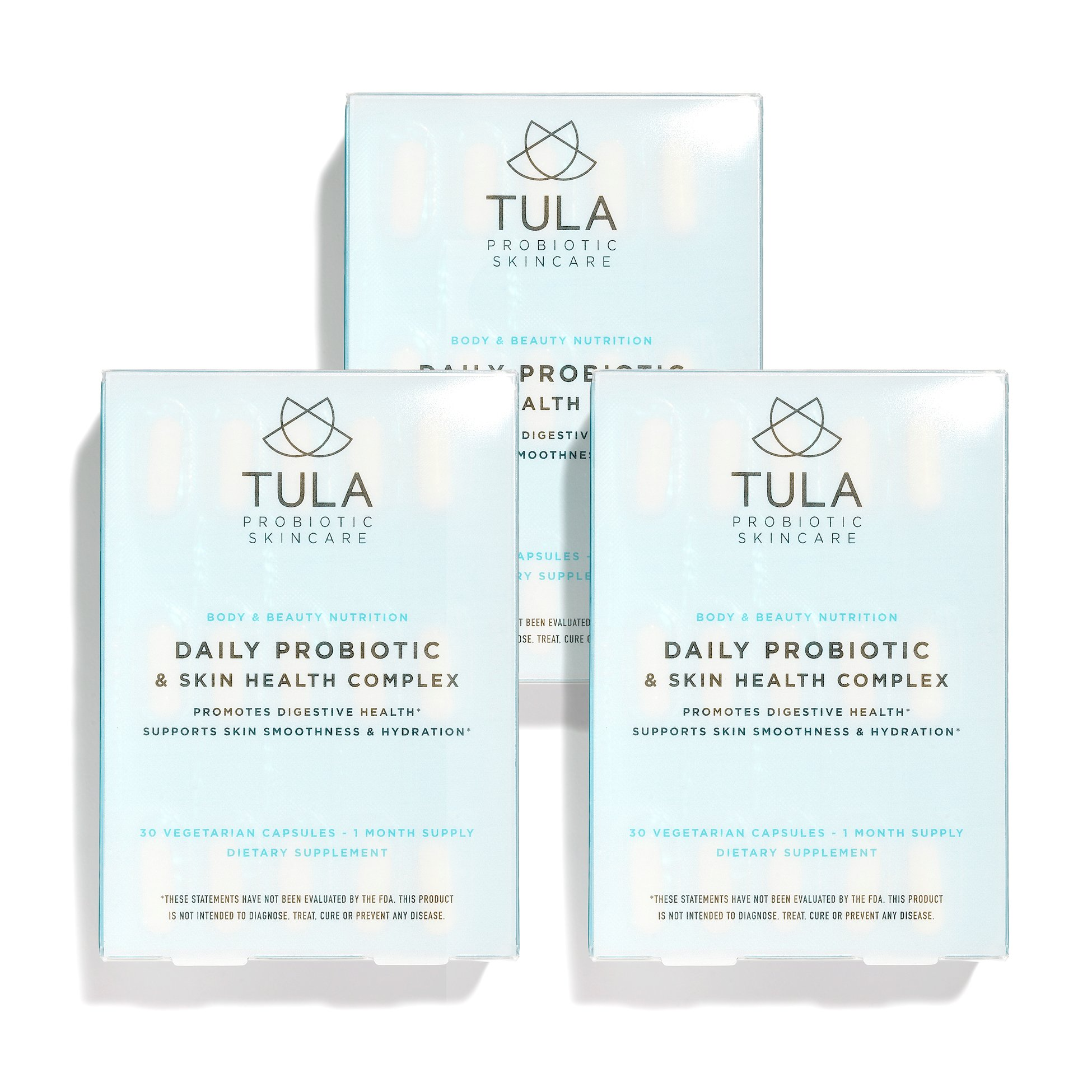 TULA Probiotic Skincare Daily Probiotic & Skin Health Complex (Pack of 3) | Women's Daily Probiotic, Digestive & Skin Health Supplement |10 billion CFU, Ceramide & Antioxidant | 30 Capsules X 3