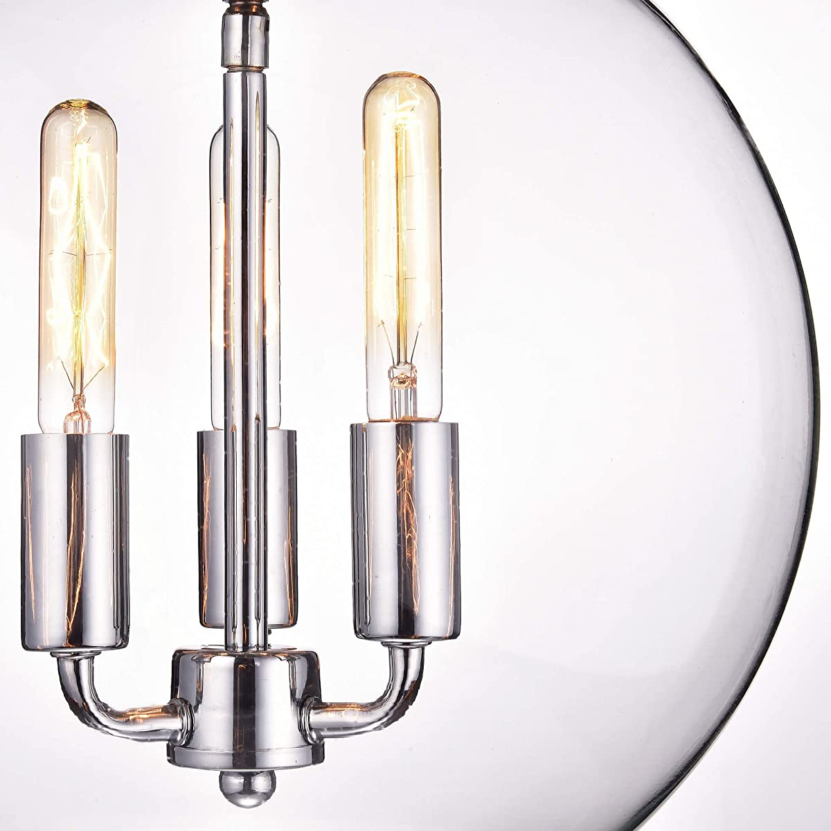 Jojospring Luna Chrome Finish 3-Light Clear Glass Globe Iron Pendant Chandelier
