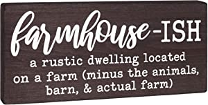 Farmhouse Sign - Funny Farmhouse-ish Home Plaque - Modern Farmhouse Wall Art or Rustic Wood Shelf Decoration 5.5x12 Wooden Black and White House Accent for Kitchen or Living Room