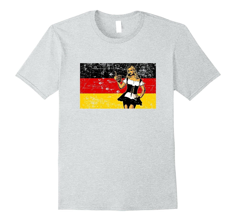 Vintage German Flag beer girl Octoberfest t-shirt-FL
