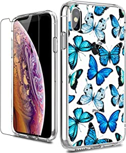 LUHOURI iPhone X Case,iPhone Xs Case with Screen Protector,Clear with Floral Flower for Girls Women,Shockproof Slim Fit Protective Phone Case for iPhone X/iPhone Xs Blue Butterflies