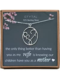EFYTAL Gifts for Wife, 925 Sterling Silver Mother & Children Necklace, Mom Necklaces for Women, Best Birthday Gift Ideas...
