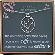 EFYTAL Gifts for Wife, 925 Sterling Silver Mother & Children Necklace, Mom Necklaces for Women, Best Birthday Gift Ideas, Pe