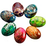 rockcloud 18x25mm Oval Cabochon Flatback Semi-precious Stones Sea Sediment Jasper for Jewelry Making Pack of 5